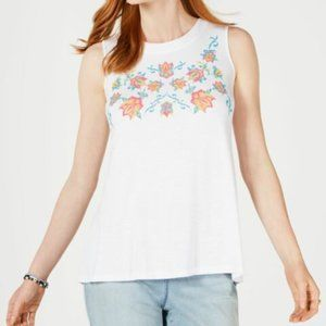 Style & Co women S white multi embroider floral front round neck sleeveless top